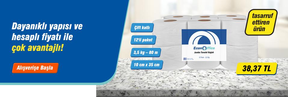Econoffice Jumbo Tuvalet Kağıdı 12'li Paket ile işyerinizde tasarruf edin!