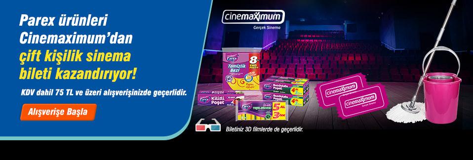 Parex ürün alışverişinize Cinemaximum'dan çift kişilik sinema bileti hediye!