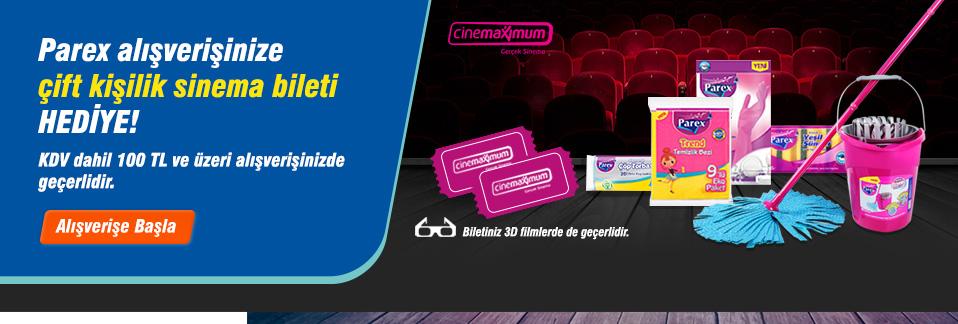 Parex ürünlerinden KDV dahil 100 TL ve üzeri alışverişinize çift kişilik sinema bileti hediye!